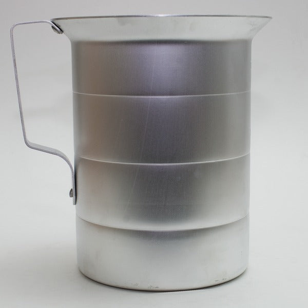 back-view of the four-quart aluminum measuring pitcher