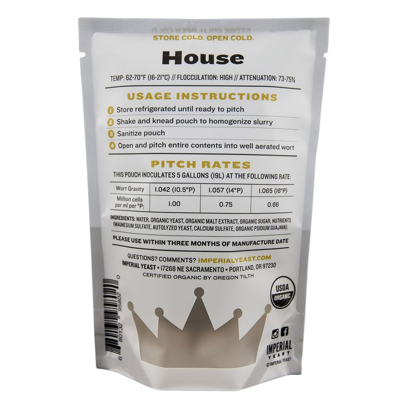 Imperial Yeast A01 House pouch back-view