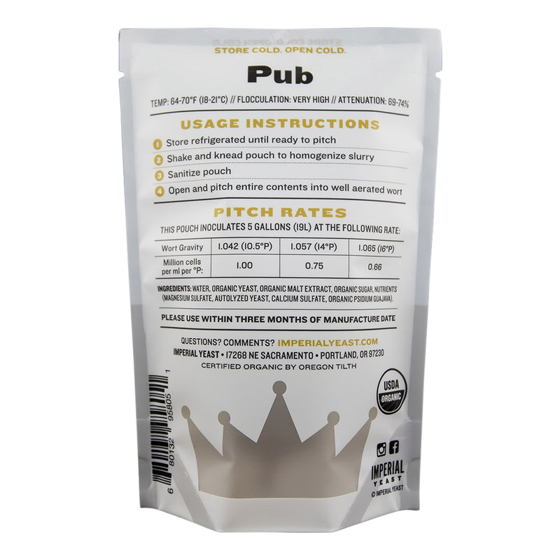 Imperial Yeast A09 Pub pouch's back