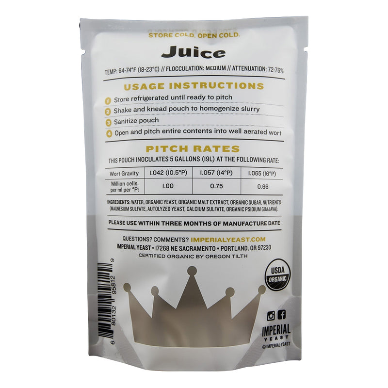 Imperial Yeast A38 Juice pouch's back