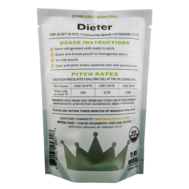 Imperial Yeast G03 Dieter pouch's back