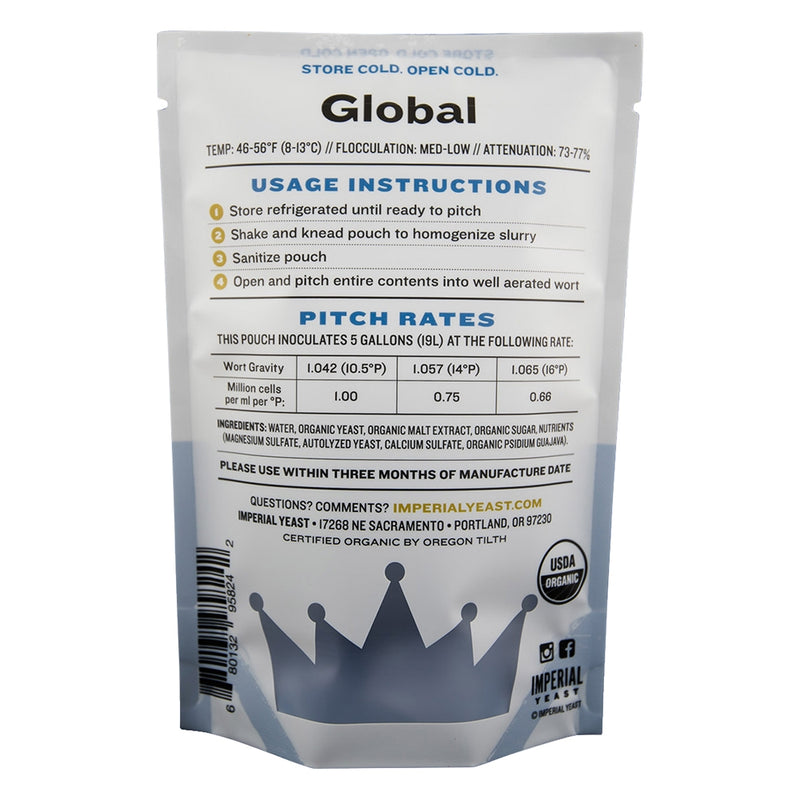 Imperial Yeast L13 Global pouch's back