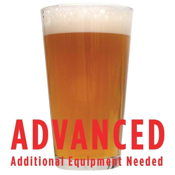 "Tangerine Ravine Pale Ale in a glass with a customer caution in red text: ""Advanced, additional equipment needed"" to brew this recipe kit"