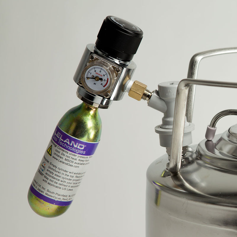 Mini Gas Regulator in use with nitrogen cartridge and mini keg (not included)