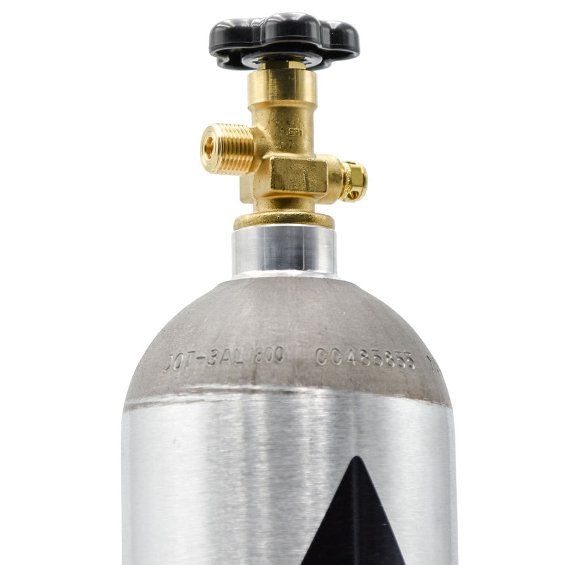 Close-up of the New Aluminum 5-pound CO2 Tank's top