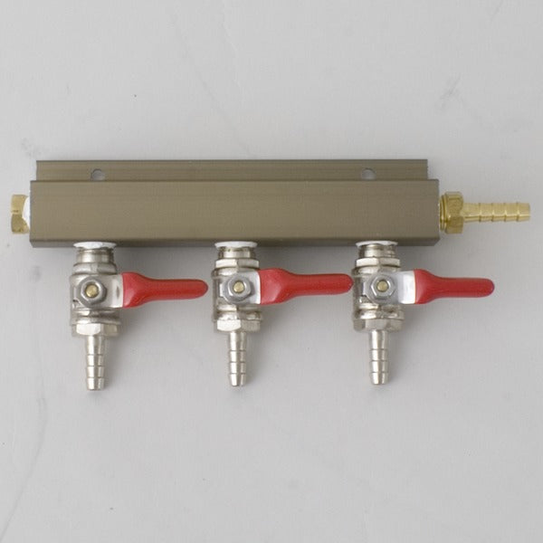 "3 Way CO2 Gas Manifold, 1/4"" Barbed Shutoff Valve"