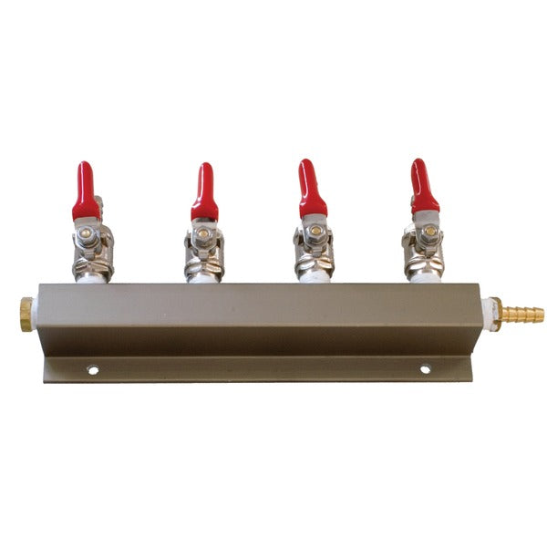 4-Way quarter-inch barb Gas Manifold CO2 Distributor with Shutoff
