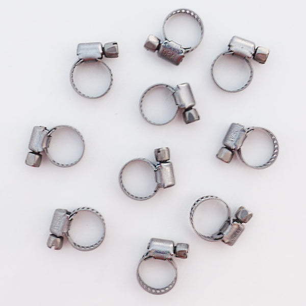 Ten Stainless Steel Tubing Clamps