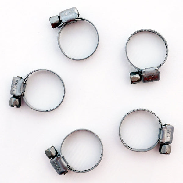 Five half-inch Stainless Steel Tubing Clamps