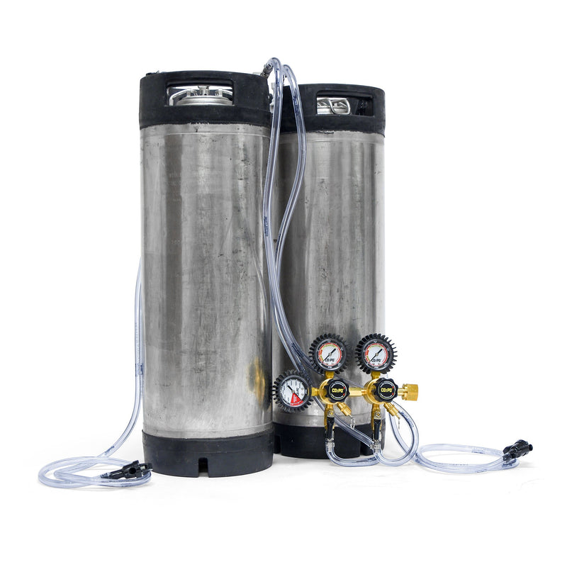 Draft Brewer Dual Keg System - Reconditioned Ball Lock w/ Double Body Regulator
