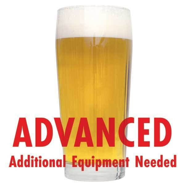 "Kolsch in a drinking glass with a customer caution in red text: ""Advanced, additional equipment needed"" to brew this recipe kit"