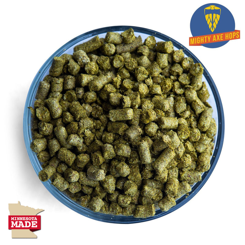 Display bowl filled with Minnesota Tropica Hop pellets alongside the Mighty Axe Hops logo
