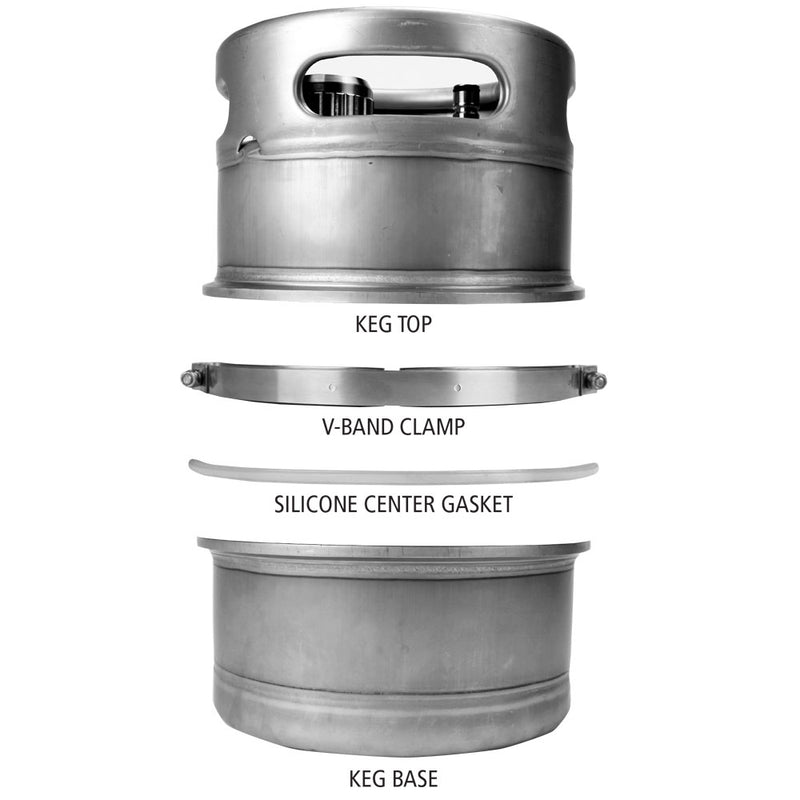 Big Mouth™ Modular Mini-Keg separated into its modules