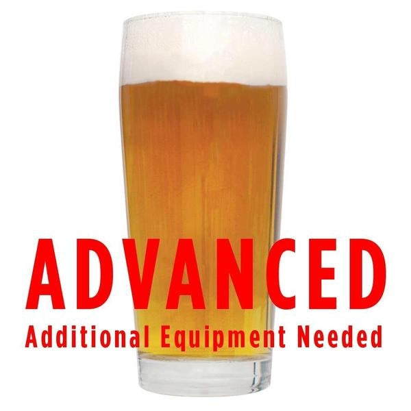 "Lemondrop Saison homebrew in a glass with a customer caution in red text: ""Advanced, additional equipment needed"" to brew this recipe kit"