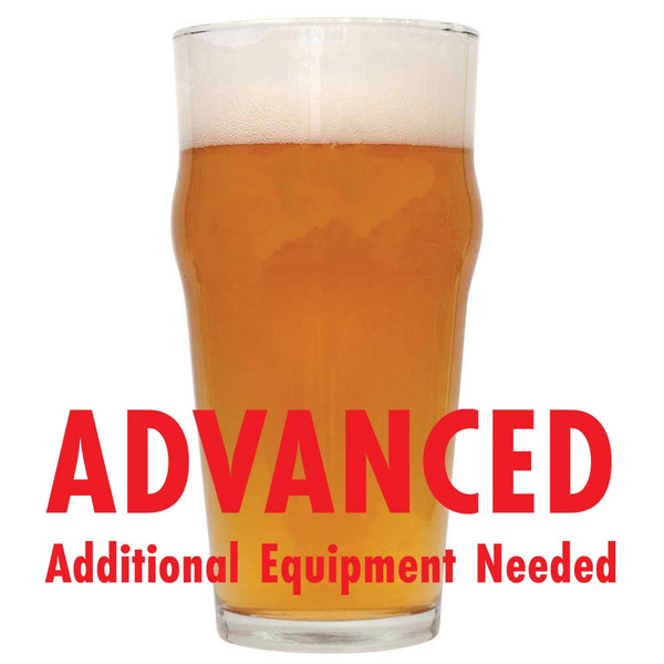 "CBD IPA homebre win a glass with a customer caution in red text: ""Advanced, additional equipment needed"" to brew this recipe kit"
