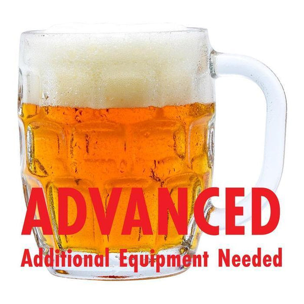 "maypole maibock homebrew in a drinking glass with a customer caution in red text: ""Advanced, additional equipment needed"" to brew this recipe kit"