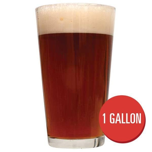 "Nut Brown Ale in a drinking glass beside a red circle containing the text ""1-gallon"""