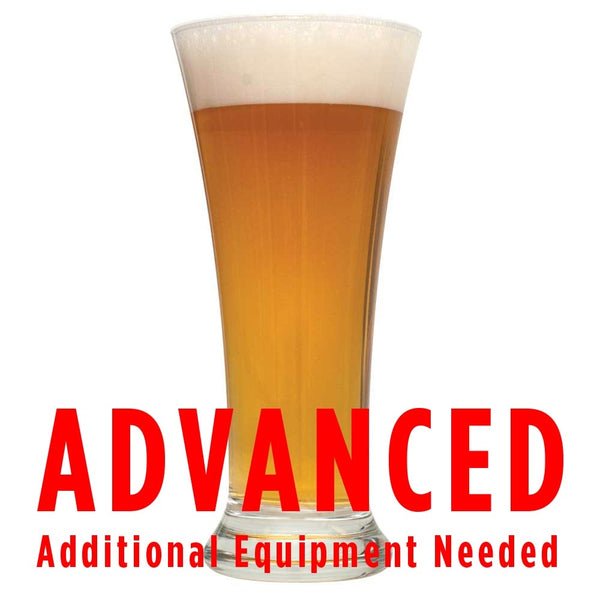"Hank's Hefeweizen in a glass with a customer caution in red text: ""Advanced, additional equipment needed"" to brew this recipe kit"