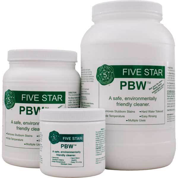 PBW Powdered Brewery Wash in three differently-sized containers
