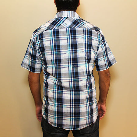 Back-view of the Midwest Supplies Plaid Work Shirt
