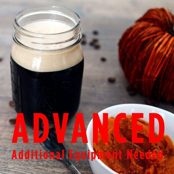 "pumpkin spice latte stout in a mason jar with a customer caution in red text: ""Advanced, additional equipment needed"" to brew this recipe kit"