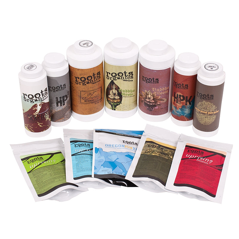Roots Organics Player Pack Nutrient Starter Pack's contents on display