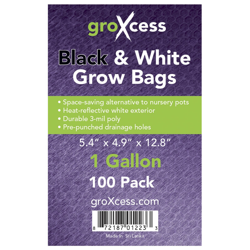 Label for the 1-gallon Black and white grow bags