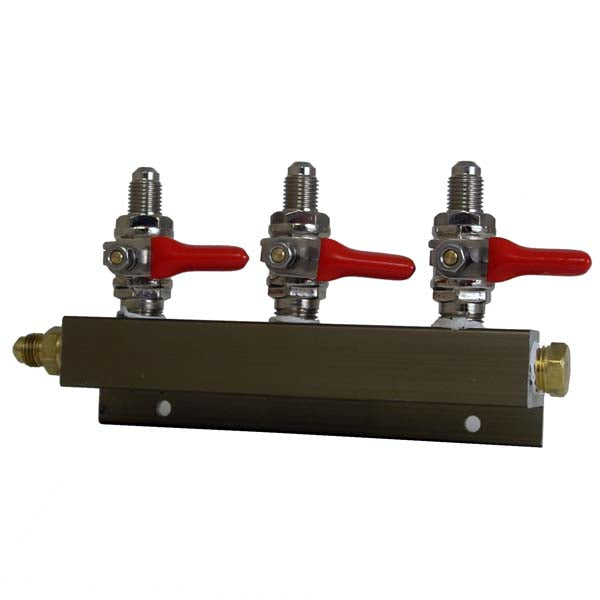 "3 Way CO2 Distributor, 1/4"" MFL with Shutoff"