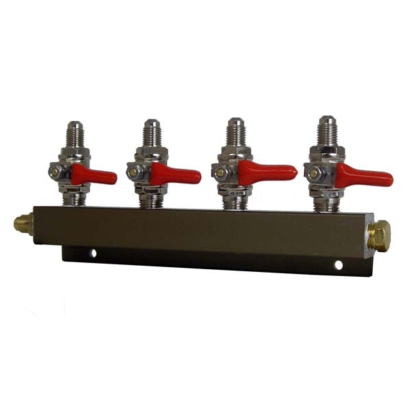"4 Way CO2 Distributor, 1/4"" MFL with Shutoff"