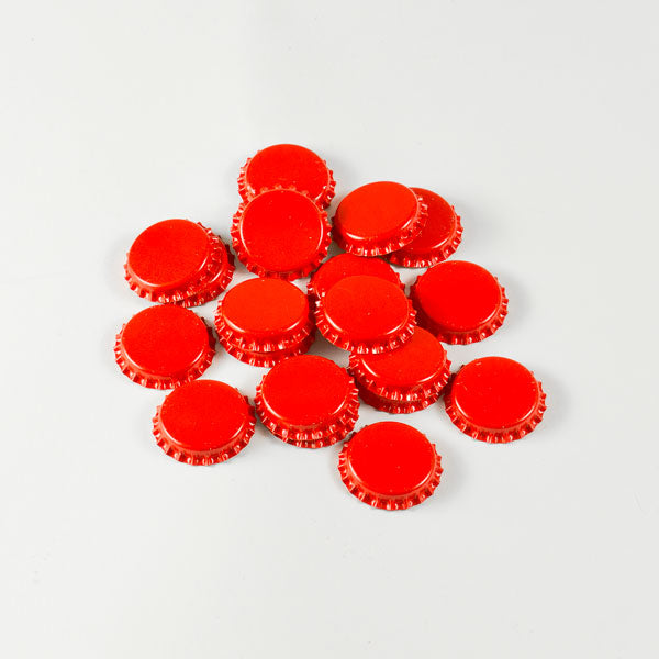 Red Bottle Caps in a pile