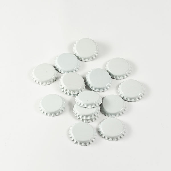 White Bottle Caps in a pile