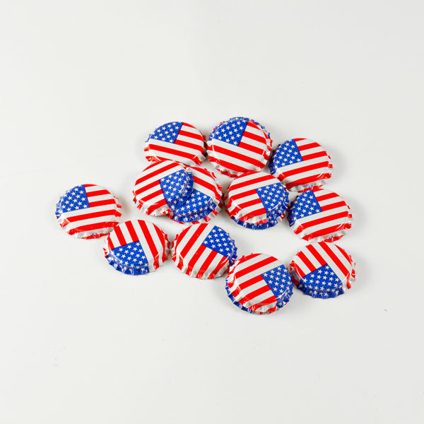 US Flag Bottle Caps in a pile