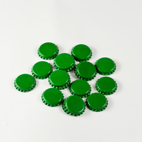 Green Bottle Caps in a pile