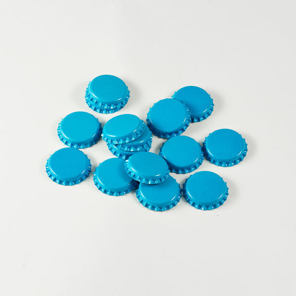 Blue Bottle Caps in a pile