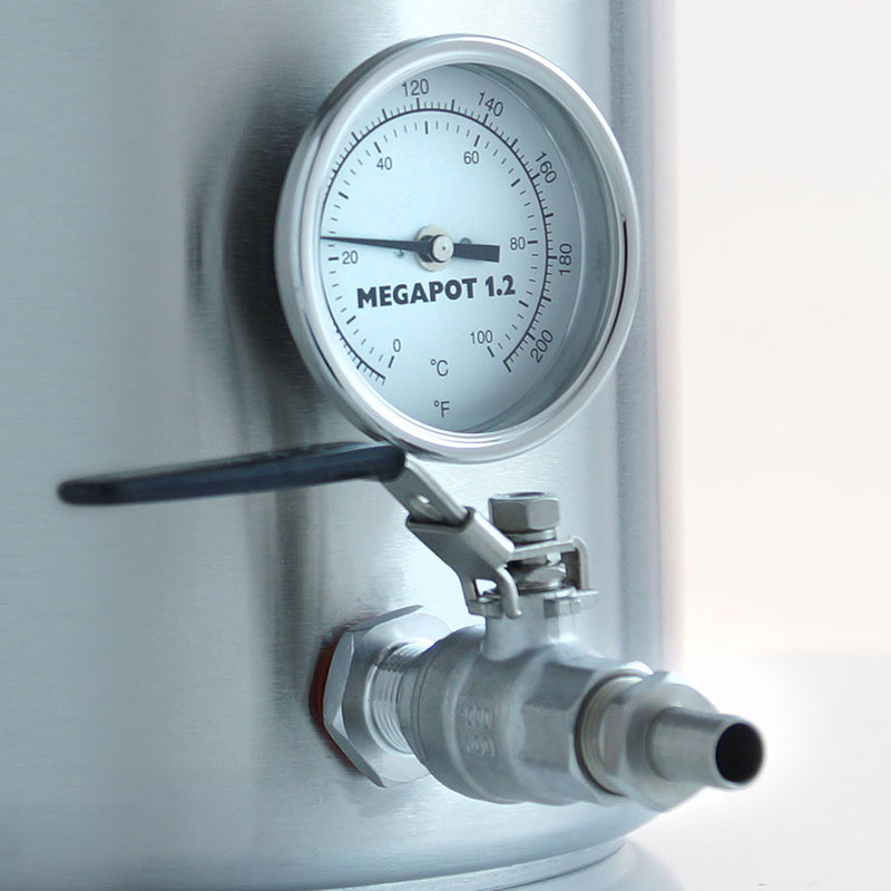 Close-up of the Brew Kettle's ball valve and thermometer