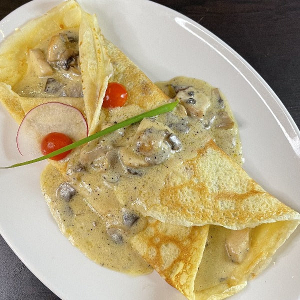 Chicken and mushroom crepe