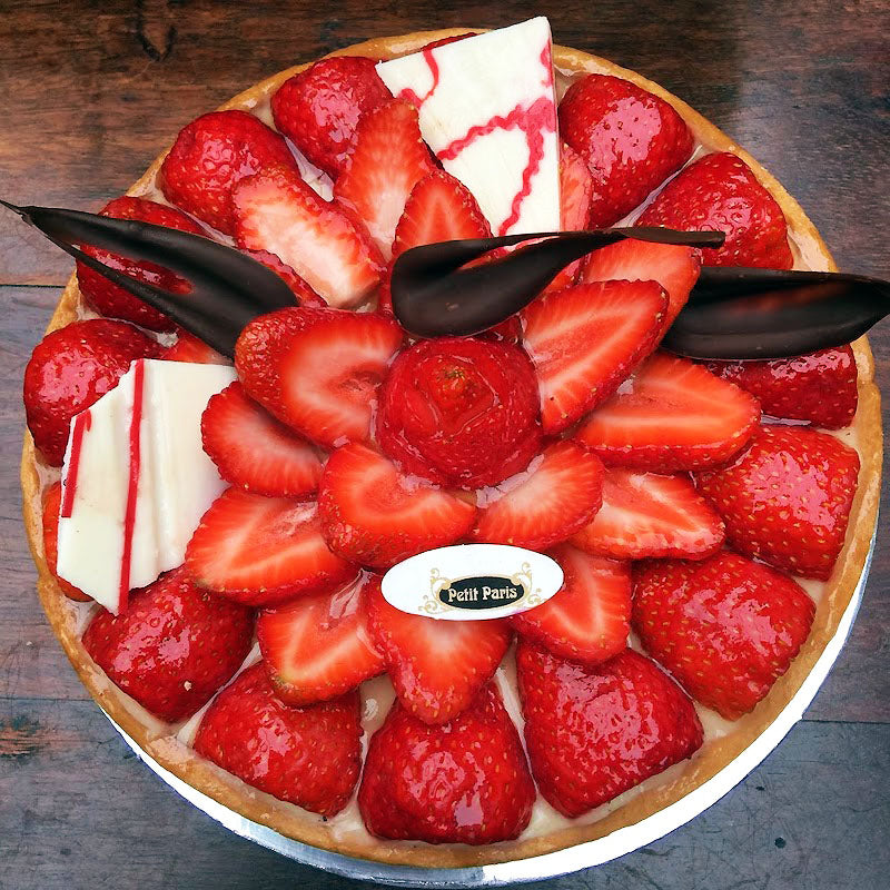 large strawberry tart