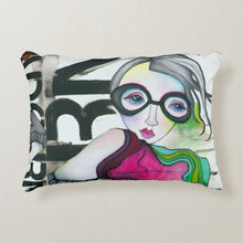 "Load image into Gallery viewer, Artful printed lumbar pillow with two separate designs. 12"" x 16"""