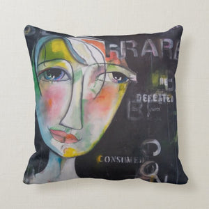 "Artful Pillow, home accent, 16"" x 16"", ""Be Rare"" side 1, ""Love Deeply"" side 2"