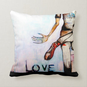 "Artful printed pillow with two separate designs. 16"" x 16"""