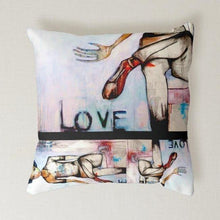 "Load image into Gallery viewer, Artful printed pillow with two separate designs. 16"" x 16"""