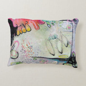 "Artful Pillow, home accent, 12"" x 16"" lumbar, ""Hard U Turn"",  Free Shipping"