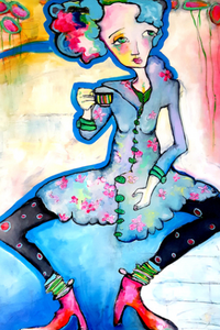 "Printed Art Card, ""High Tea"", 4""x 6"" x 1.0 mm thick substrate paper, Collectible, Frameable"