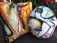 "Load image into Gallery viewer, Artful Pillow, home accent, 16"" x 16"" round, ""The Get Down"" side 1, ""Mesmerizing"" side 2"