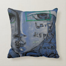 "Load image into Gallery viewer, Artful Pillow, home accent, 16"" x 16"", ""Be Rare"" side 1, ""Love Deeply"" side 2"