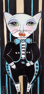 "Original painting ""Mariachi Gato"", oil on birch panel, 6"" x 12"""