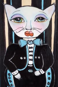 "Printed Art Card, ""Mariachi Gato"", 4""x 6"" x 1.0 mm thick substrate paper, Collectible, Frameable"