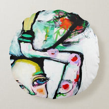 "Load image into Gallery viewer, Artful printed round pillow with two separate designs. 16"" x 16""  Artwork by Liz Vaughn"