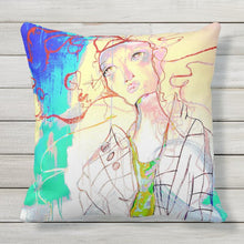 "Load image into Gallery viewer, Artful printed Outdoor pillow with two separate designs. 20"" x 20"""