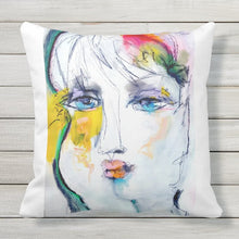 "Load image into Gallery viewer, Artful Pillow, OUTDOOR, 20"" x 20"", ""Flower Garden"" side 1 ""The Show"" side 2"